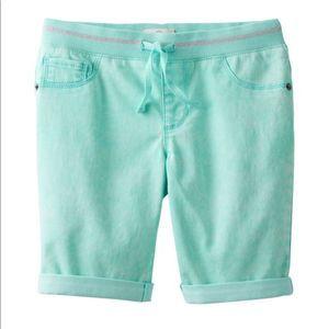 SO Ribbed Waist Bermuda Shorts Aqua New